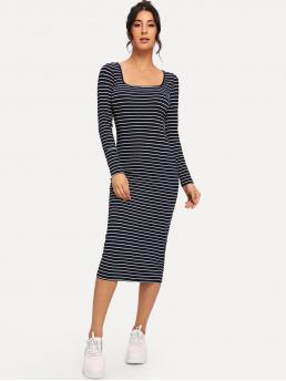 Casual Striped Square Neck Long Sleeve Regular Sleeve Natural Navy Long Length Scoop Neck Striped Pencil Dress