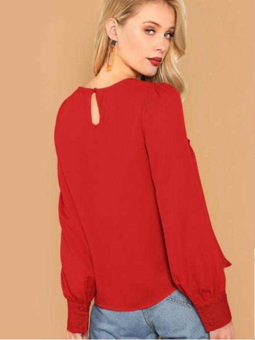 Long Sleeve Top Button Polyester Keyhole Front Top Trending now