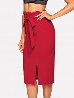 Elegant Straight Plain High Waist Red Midi Length Paperbag Waist Belted Split Pencil Skirt with Belt
