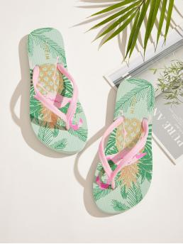 Boho Flip Flops Flamingo Multicolor Tropical Print Toe Post Slippers