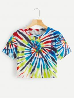 Casual Tie Dye Regular Fit Round Neck Short Sleeve Pullovers Multicolor Crop Length Tie Dye Crop Tee