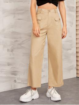 Casual Plain Cargo Pants Loose Button Fly Mid Waist Khaki Long Length Solid Flap Pocket Front Wide Leg Cargo Pants