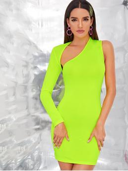 Glamorous Bodycon Plain Slim Fit One Shoulder Long Sleeve Regular Sleeve Natural Green and Bright Short Length Neon Green One Shoulder Cut-out Bodycon Dress