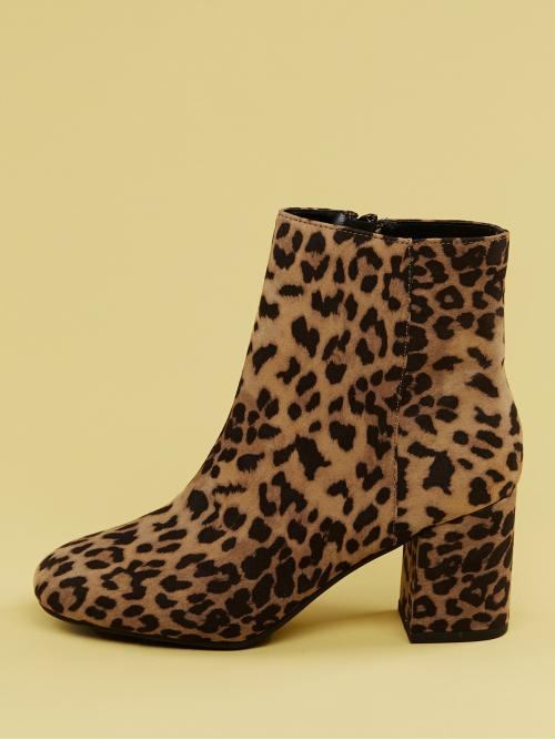 Glamorous Other Almond Toe Leopard Side zipper Multicolor Mid Heel Chunky Round Toe Chunky Heel Cheetah Print Booties