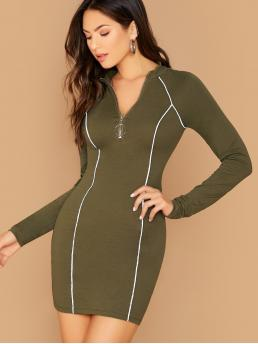 Elegant Bodycon Plain Pencil Slim Fit Stand Collar Long Sleeve Regular Sleeve Natural Army Green Mini Length Reflective Binding Mock Neck Long Sleeve Dress