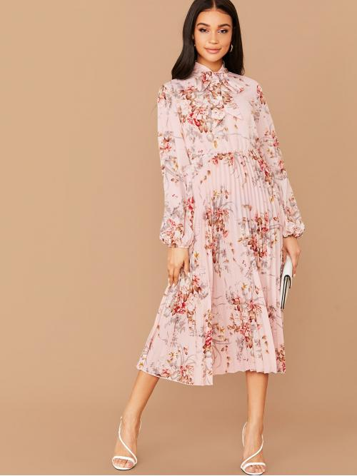 Elegant A Line Floral Pleated Regular Fit Stand Collar Long Sleeve Bishop Sleeve High Waist Pink and Pastel Long Length Tie Neck Lantern Sleeve Floral Print Pleated Dress