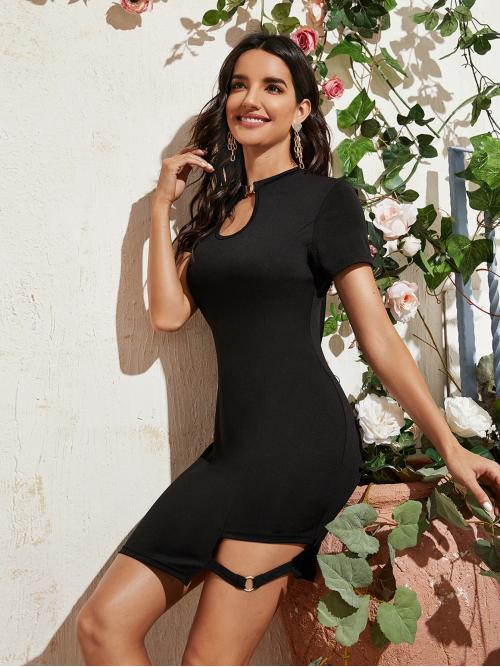 Sexy Fitted Plain Straight Regular Fit Keyhole Neckline Short Sleeve Regular Sleeve High Waist Black Short Length Keyhole Neck Cut Out Buckle Fitted Dress