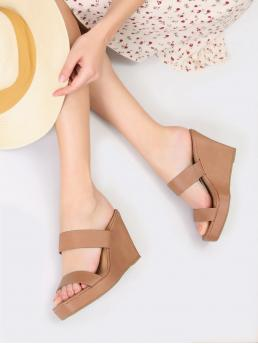 Polyester Khaki Mules Belted Twin Band Wedges Pretty