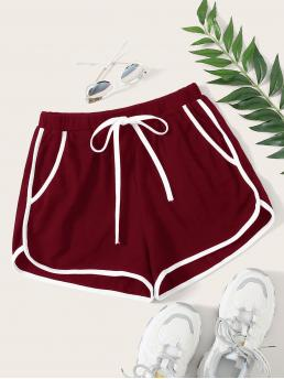 Women's Burgundy High Waist Tie Front Track Shorts Contrast Binding Dolphin Shorts
