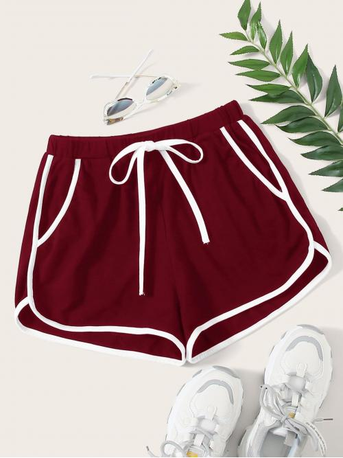 Clearance Burgundy High Waist Tie Front Track Shorts Contrast Binding Dolphin Shorts