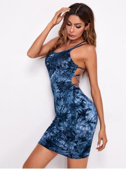 Navy Blue Tie Dye Criss Cross Spaghetti Strap Backless Dress Clearance