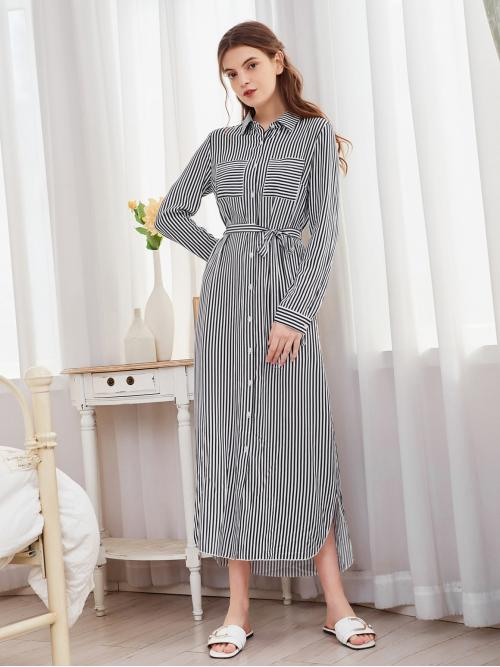 Affordable White Striped Button Front Collar Shirt Dress