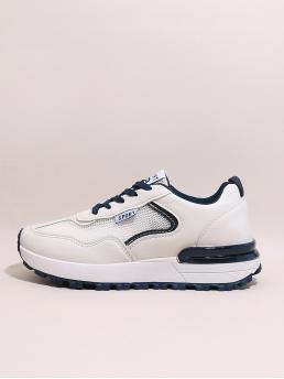 Shopping White Running Shoes Flat Low-top Front Panel Sneakers