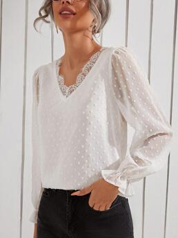 Affordable Long Sleeve Top Contrast Lace Chiffon Swiss Dot Lace Trim Blouse