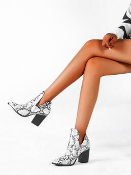 Affordable White High Heel Chunky Point Toe Heeled Booties