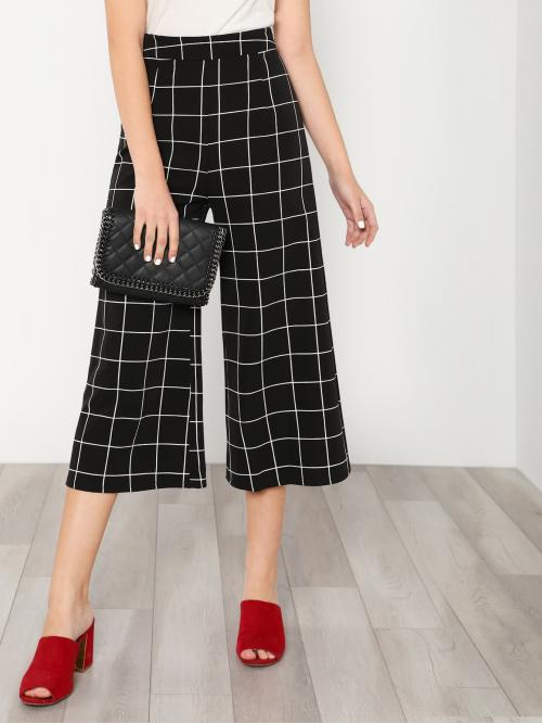 Elegant Plaid Wide Leg Loose Zipper Fly High Waist Black and White Cropped Length Checker Cropped Palazzo Pants BLACK