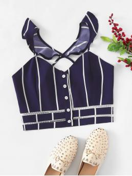 Casual Striped Slim Fit Spaghetti Strap Navy Crop Length Criss Cross Back Striped Top