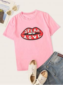 Casual Letter and Figure Regular Fit Round Neck Short Sleeve Pullovers Pink Regular Length Lip & Letter Print Tee