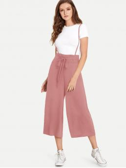 Casual Culottes Plain Loose High Waist Pink Tie Front Shirred Paperbag Crop Jumpsuit