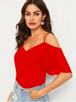 Boho Plain Top Regular Fit Spaghetti Strap Half Sleeve Flounce Sleeve Pullovers Red and Bright Regular Length Solid Cold Shoulder Layered Sleeve Top