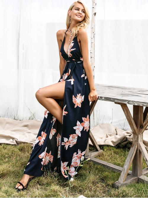 Boho Cami Floral Wrap Regular Fit Deep V Neck and Spaghetti Strap Sleeveless High Waist Navy Maxi Length Simplee Floral Lace Up Backless Wrap Slip Dress with Lining
