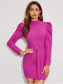Elegant Bodycon Plain Pencil Slim Fit Stand Collar Long Sleeve Leg-of-mutton Sleeve Natural Pink and Bright Mini Length Mock Neck Gigot Sleeve Belted Dress with Belt