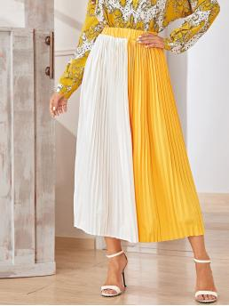 Casual Pleated Colorblock High Waist Multicolor Long/Full Length Two Tone Pleated Skirt