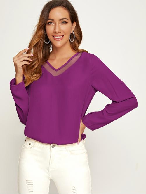 Casual Plain Top Regular Fit V neck Long Sleeve Regular Sleeve Pullovers Purple Regular Length Mesh Insert Solid Top