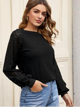 Casual Plain Regular Fit Stand Collar Long Sleeve Bishop Sleeve Pullovers Black Regular Length Solid Hollow Out Sleeve Ribbed Tee