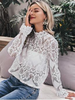 Romantic Top Regular Fit Stand Collar Long Sleeve Bishop Sleeve Pullovers White Regular Length Simplee Mock Neck Sheer Lace Top Without Bandeau