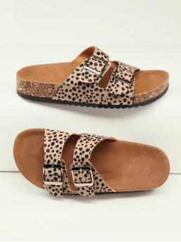 Multicolor Footbedsandals Buckle Flat Cheetah Print Twin Footbed Sandals Fashion