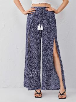 Navy Blue High Waist Wrap Wide Leg Allover Print Tassel Knot Detail Palazzo Pants Beautiful