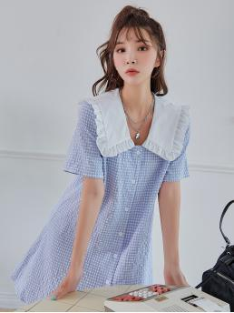 Fashion Baby Blue Gingham Button Front Peter Pan Collar Statement Collar Dress