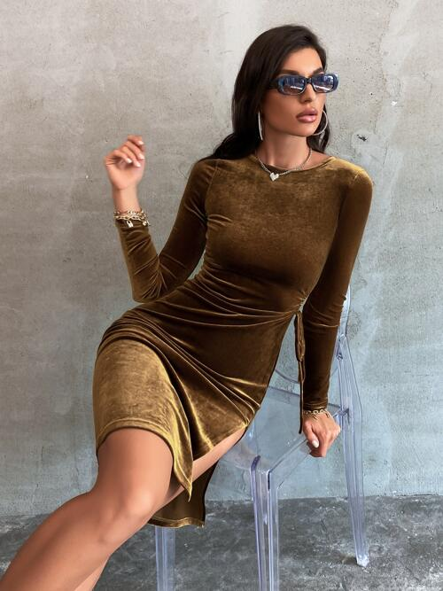 Chocolate Brown Plain Split Thigh Round Neck Solid Knot Side Dress Cheap