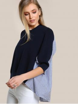 Preppy Striped and Colorblock Top Regular Fit Round Neck Three Quarter Length Sleeve Multicolor Longline Length Two Tone Quarter Sleeve Top NAVY