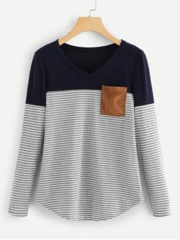 Casual Striped and Colorblock Regular Fit Round Neck Long Sleeve Pullovers Multicolor Regular Length Pocket Patch Striped Ribbed Top