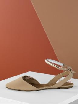 Ankle Strap Flats Point Toe Ankle Strap Nude Gold Detail Ankle Strap Pointed Slingback Flats