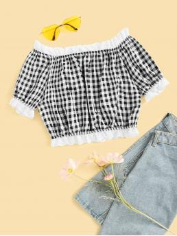 Casual Gingham Top Regular Fit Off the Shoulder Short Sleeve Pullovers Black and White Crop Length Gingham Plaid Frill Trim Off The Shoulder Blouse
