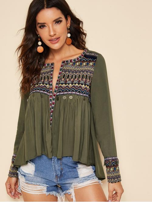 Boho Top Tribal Regular Fit Round Neck Long Sleeve Pullovers Army Green Regular Length Embroidered Tribal Panel Coin Detail Dip Hem Top