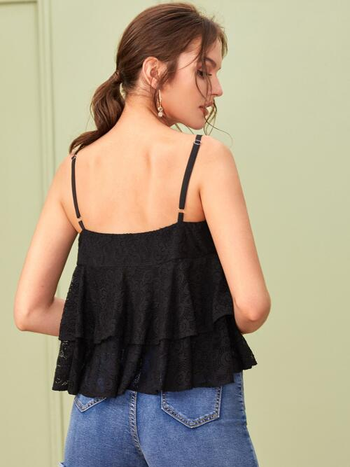 Cami Tiered Layer Lace Plain Layered Top Pretty