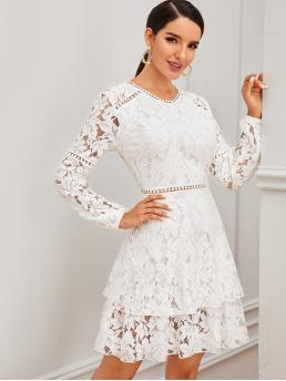 Romantic A Line Plain Flared Regular Fit Round Neck Long Sleeve High Waist White Short Length Zip Back Layered Lace Dress with Lining