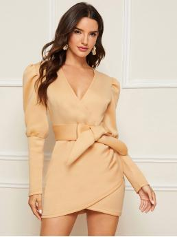 Elegant Bodycon Plain Wrap Slim Fit V neck Long Sleeve Leg-of-mutton Sleeve Natural Beige and Pastel Mini Length Gigot Sleeve Self Belted Wrap Dress with Belt