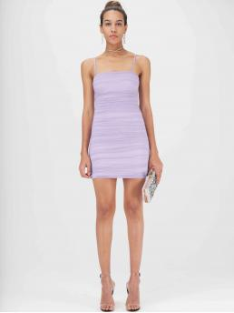 Sexy Cami Plain Pencil Slim Fit Spaghetti Strap Sleeveless Natural Purple and Pastel Short Length Ruched Mesh Overlay Bodycon Cami Dress