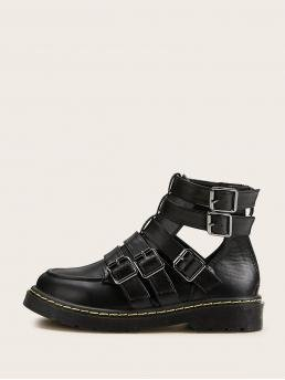 Comfort Other Round Toe Back zipper Black Buckle Decor Cut Out Ankle Boots