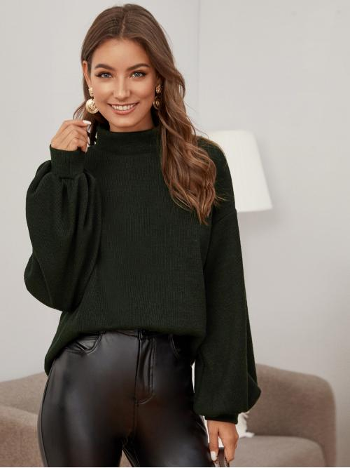 Casual Plain Regular Fit Stand Collar Long Sleeve Bishop Sleeve Pullovers Army Green Regular Length Lantern Sleeve Rib-knit Top