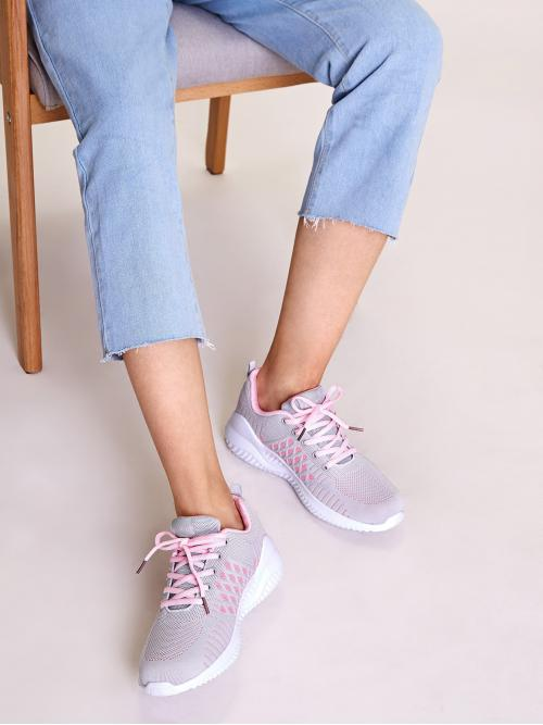 Comfort Round Toe Lace Up Grey Lace-up Front Wide Fit Sneakers
