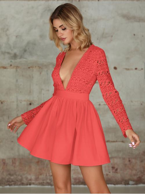Glamorous and Sexy A Line Plain Flared Regular Fit Deep V Neck Long Sleeve Regular Sleeve High Waist Pink Short Length Double Crazy Plunging Guipure Lace Bodice Skater Dress