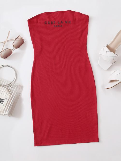 Casual Bodycon Letter Pencil Slim Fit Strapless Sleeveless Natural Red and Bright Mini Length Letter Graphic Tube Dress