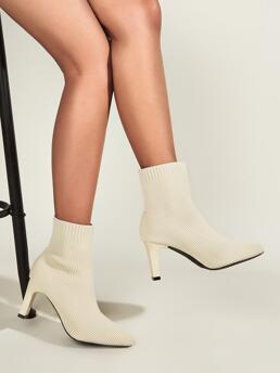 Beige Stretch Boots Mid Heel Chunky Sock Boots Shopping
