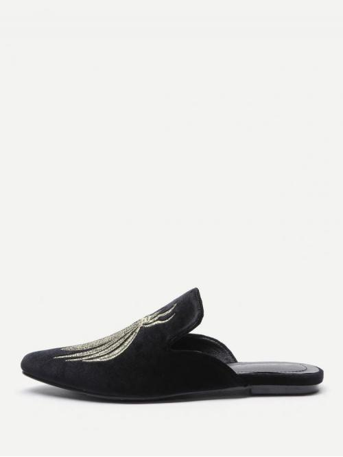 Trending now Corduroy Black Mules Embroidery Flat Slippers